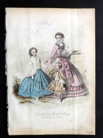 Journal des Demoiselles C1850 Antique Hand Col Fashion Print 76